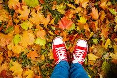 Image conceptuelle de style de hippie des jambes dans les bottes, chaussures en caoutchouc à la mode Images libres de droits