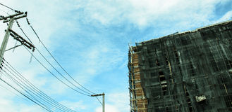 Image of condo on afternoon with Blue sky background. Stock Photo