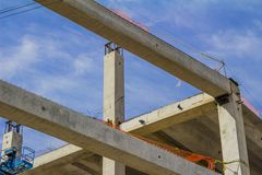 Image of the construction of a building with its beams and concrete roof royalty free stock photography