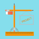 Symbol icon vector. Image of a construction crane from pencils. Stock Photo