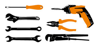 Image of construction tools. Black and orange image of construction tools Stock Image
