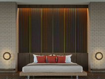 Image contemporaine élégante moderne de rendu de la chambre à coucher 3d Photos stock