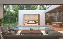 Image contemporaine moderne de rendu de la villa 3d de piscine Images libres de droits