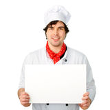 Cook holds a blank banner Royalty Free Stock Photos