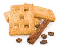 Image of cookie, cocoa beans and cinnamon close-up Stock Photo