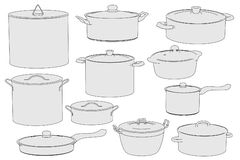 Image of cooking pots. Cartoon image of cooking pots royalty free illustration