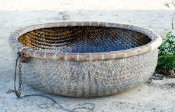 Image of coracle at beach, fishing village Stock Image