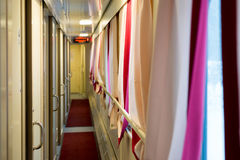 The image of corridor in compartment car Stock Images