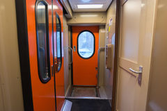 The image of corridor in  compartment car Stock Image