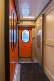 The image of corridor in  compartment car Royalty Free Stock Images