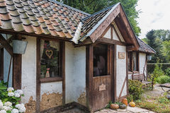 Image of a cottage in the English garden of Park Mondo Verde. Stock Images