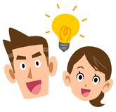 A Couple discover invention. The image of A Couple discover invention, with a flashing electric lamp vector illustration