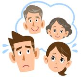 Couple to worry about parents. The image of a Couple to worry about their parents stock illustration