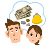 A couple troubled by money vector illustration