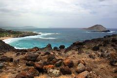 Image courante de baie de Maunalua, Oahu, Hawaï photographie stock libre de droits