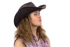 Image of cowgirl looking into the distance Royalty Free Stock Photos
