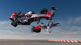 F1 sports car crash stock video