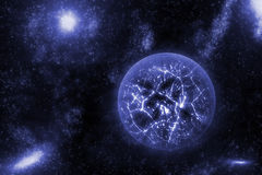 Image of crashing, exploding planet  in deep space, universe with star field background. Computer generated abstract background. Stock Photo