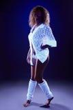 Image of creative girl dancing under neon light Royalty Free Stock Image