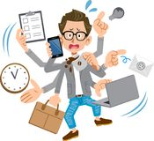 Creator-like man panicking too busy. An image of creator-like man working hard and panicking too busy stock illustration