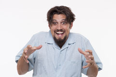 Image of a creepy young man with messed hair Stock Image