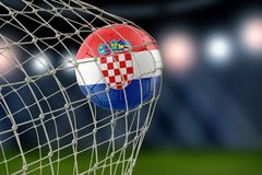Croatian soccerball in net. Image of Croatian soccerball in net Stock Image
