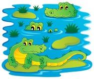 Image with crocodile theme 1. Vector illustration Stock Photography