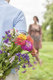 Image cultivée de bouquet de dissimulation de l'homme de femme en parc Image stock