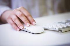 Image cultivée de la femme d'affaires employant la souris sur le bureau au bureau image libre de droits