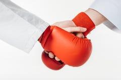 image cultivée des combattants de karaté se serrant la main dans les gants images stock