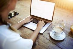 Image cultivée des mains d'une femme introduisant au clavier sur le filet-livre tout en se reposant à la table en bois en café Photographie stock libre de droits