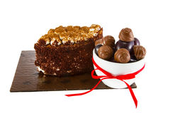 Image cup cake with candies and plums Stock Image