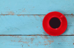 Image with cup of coffee on blue wooden table Royalty Free Stock Photo