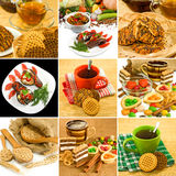 Image of cup of tea, biscuits, wheat, stews, candy closeup Stock Images