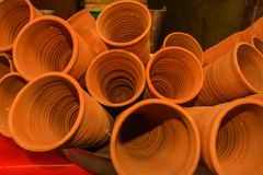 Image of cups made of mud or sand called kulhad/kullhad used to serve authentic indian drink called lassie/lassi, milk, tea. Hand. Made earthenware products royalty free stock photos