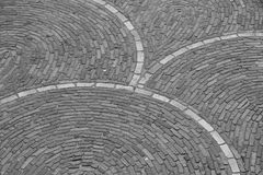 Curves of Bricks. A image of curves, lines and patterns of bricks on a pathway Stock Photos