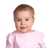 Image of cute baby girl, closeup portrait. Of adorable child isolated on white background, sweet toddler with blue eyes Royalty Free Stock Photos