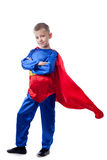 Image of cute boy posing in Superman costume Stock Image