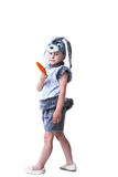 Image of cute boy in rabbit costume with carrot Royalty Free Stock Photo
