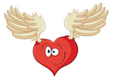 The image of cute cartoon heart with angel wings. Illustration w Royalty Free Stock Images