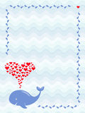An image of a cute cartoon whale with hearts fountain in frame of water drops. Greeting, baby shower or invitation card. A vector image of a cute cartoon whale Stock Photography