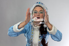 Image of cute snow maiden with soap bubbles Stock Images