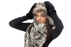 Image of cute woman in fur cap Royalty Free Stock Photo
