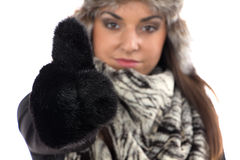 Image of cute woman in fur mittens Royalty Free Stock Images