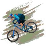 An image of a cyclist descending on a mountain bike on a slope Stock Photo