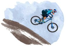 An image of a cyclist descending on a mountain bike on a slope Royalty Free Stock Photos