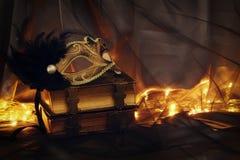 Image d'or élégant et de masque vénitien noir au-dessus de fond de Tulle Image stock