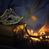 Image d'or élégant et de masque vénitien noir au-dessus de fond de Tulle Photos stock