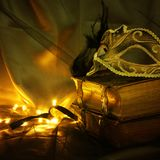 Image d'or élégant et de masque vénitien noir au-dessus de fond de Tulle Photo libre de droits
