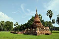 Image d'éléphants en stationnement d'histoire de sukhothai Images libres de droits